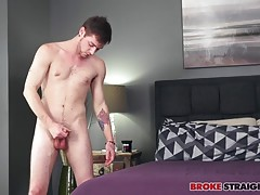 He moves to kneel on the bed, starting to work that cock a little faster, his big hand gripping his engorged prick and running up and down his balls as he masturbates and gives the camera a few sexy glances.  Charlie lies back on the bed, relaxing his bod